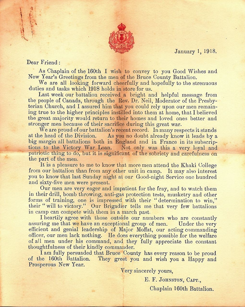 Letters From World War One January 1 1918 Letter From