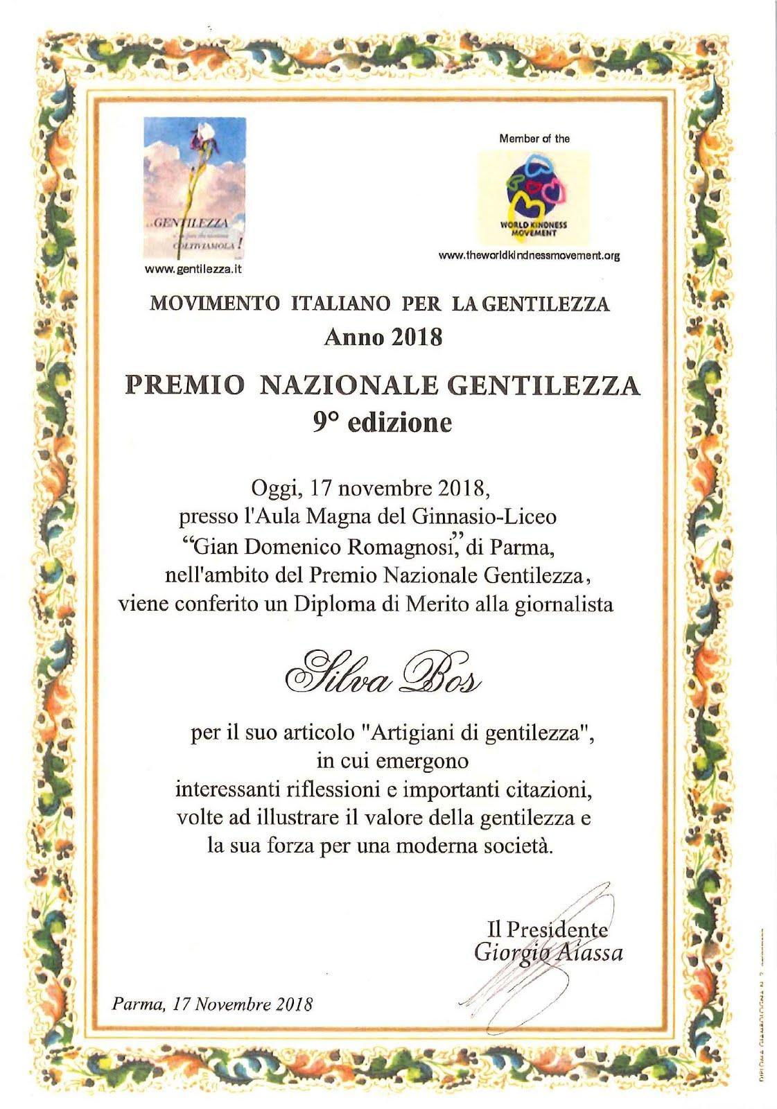 Premio Nazionale Gentilezza 2018 - Diploma di Merito alla giornalista Silva Bos