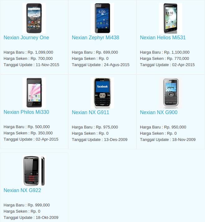 Daftar Harga Hp Nexian November 2015