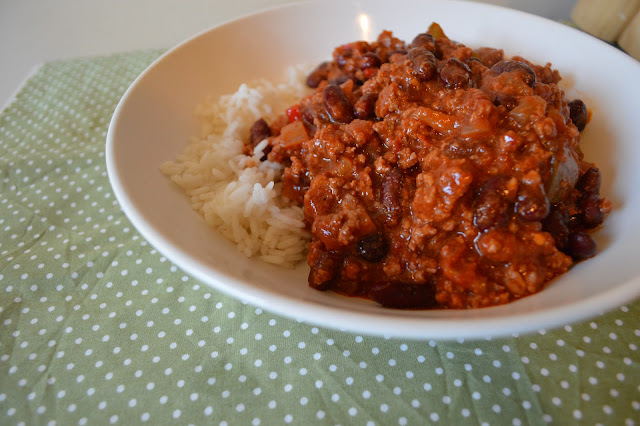 Bowl of chilli con carne and rice