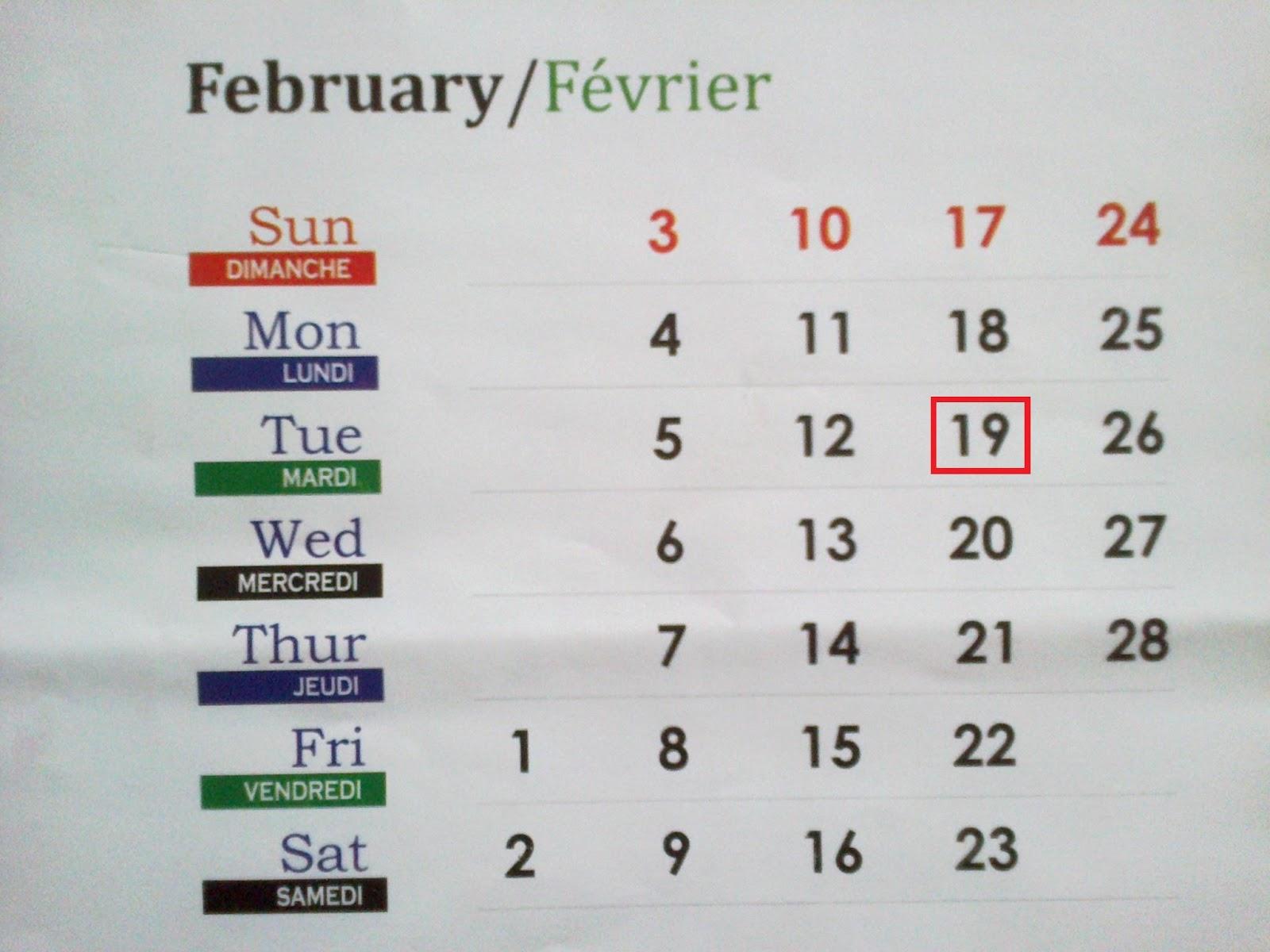 My Diary: Tuesday 19-02-2013