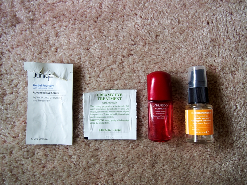 empty sample skincare products