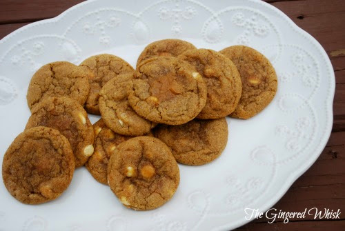White Chocolate Pumpkin Snickerdoodle Cookies (The Gingered Whisk)