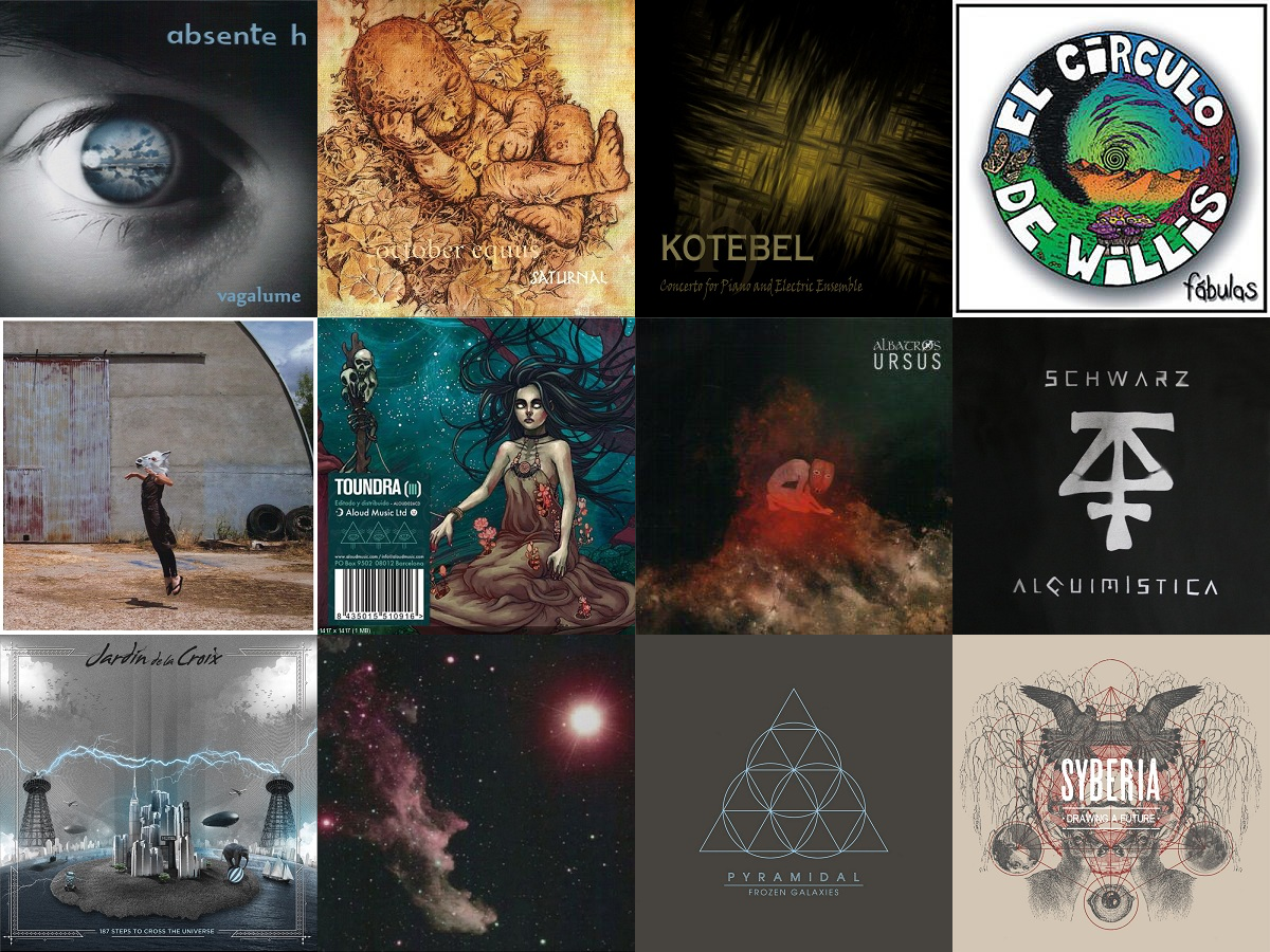 Mosaico de portadas de discos de grupos españoles contemporáneos