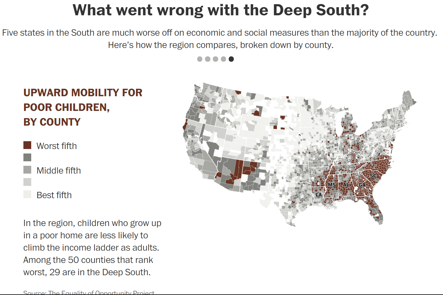 map 6 upward mobility for poor children by county in the us
