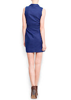 mango mavi renk elbise modeli arka