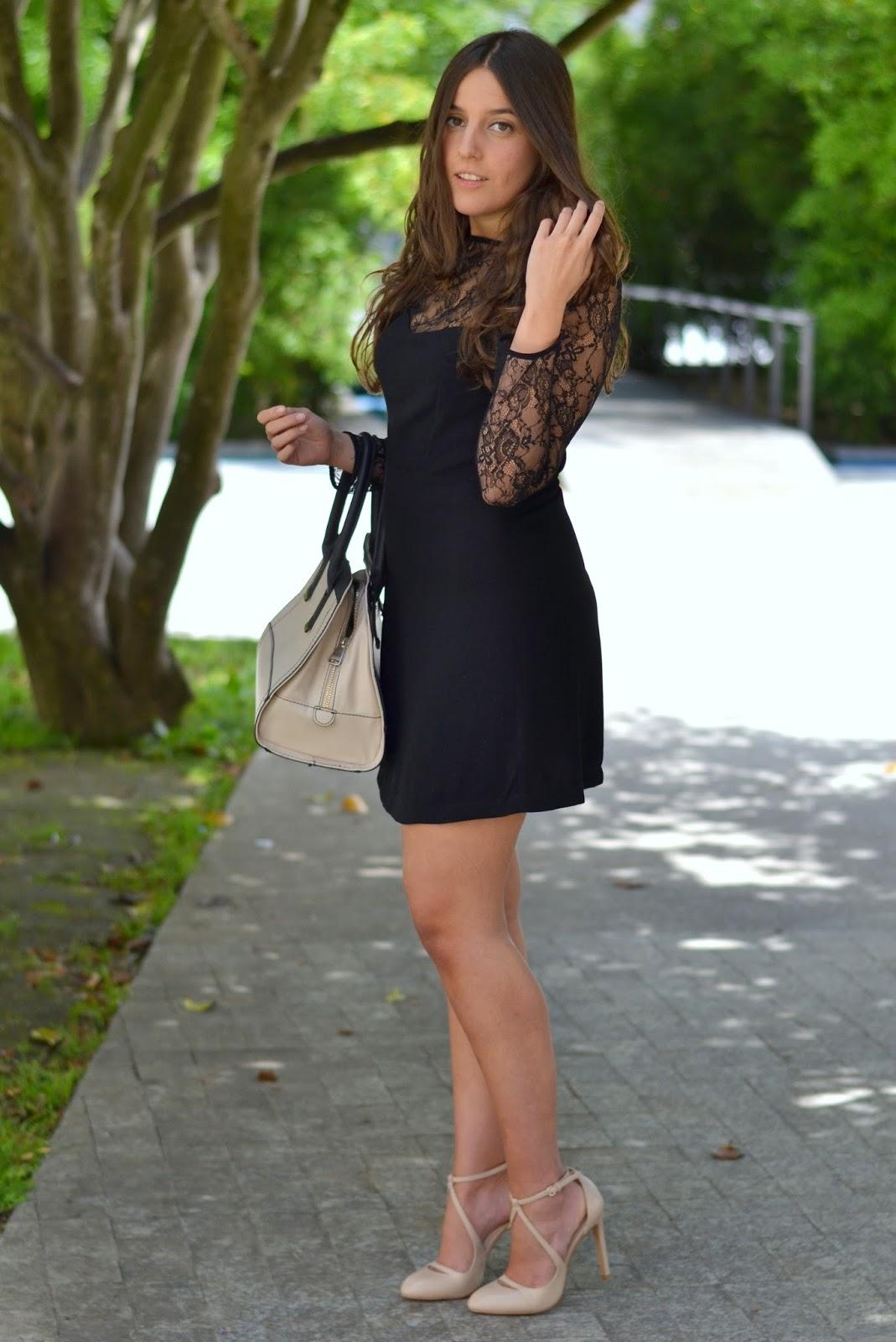 nude heels, nude bag, lbd