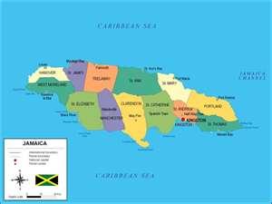 Mapa de Jamaica, organización territorial