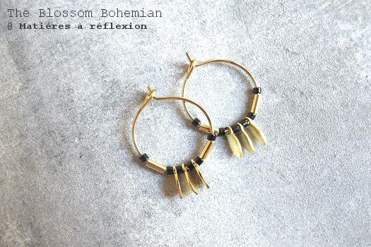 Créoles dorées noires The Blossom Bohemian