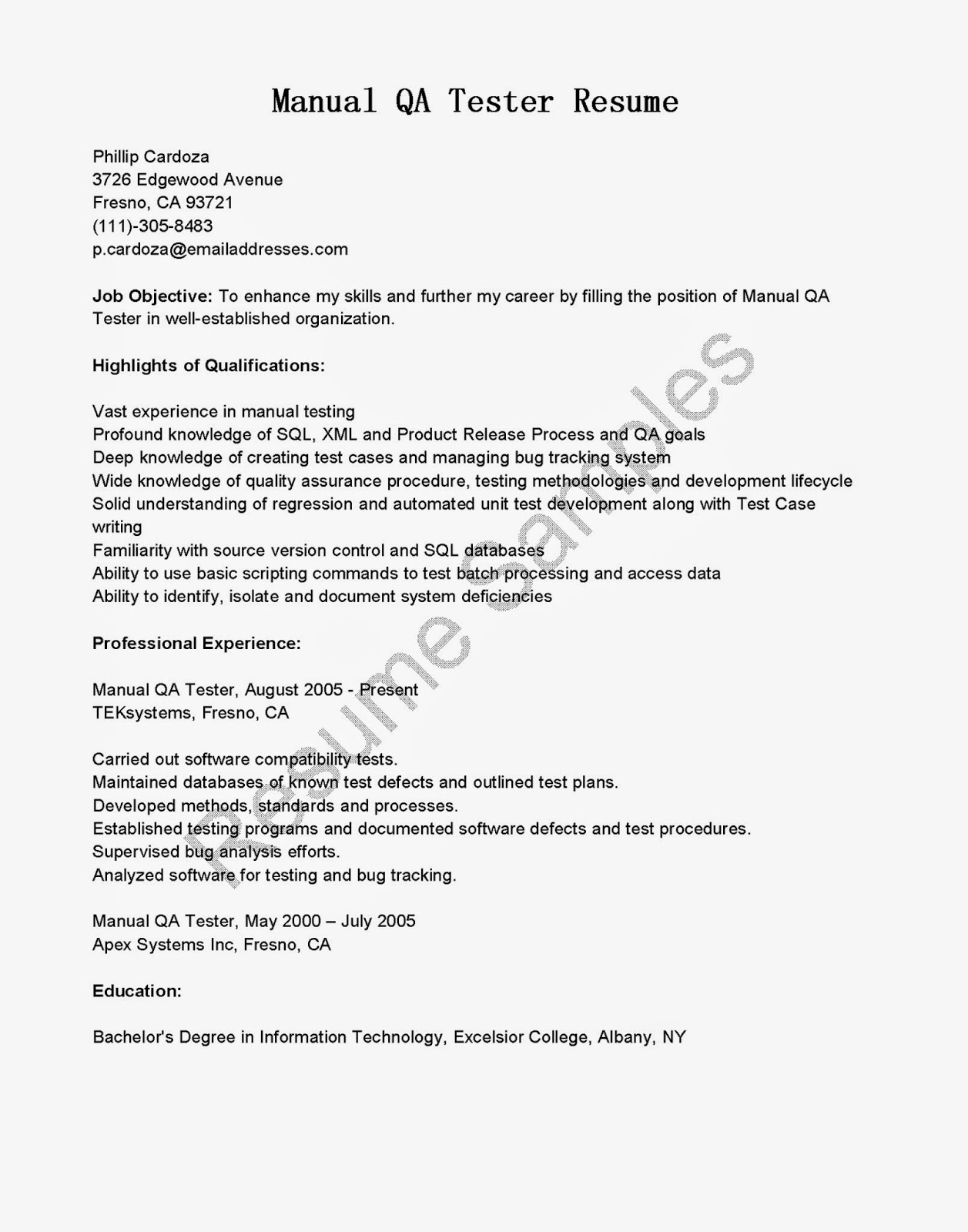 Resume Samples Manual Qa Tester Resume Sample