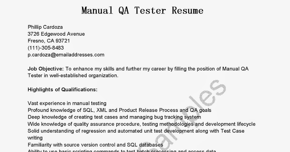 manual testing sample resume resume samples manual tester sample software testing