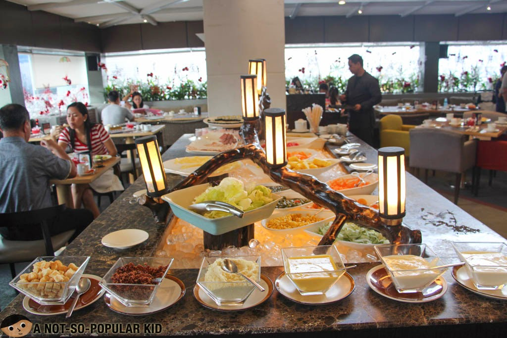 Salad, appetizers and fruits section of the Breakfast Buffet of F1 Hotel Manila