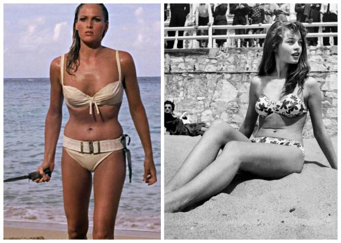 Ursula Andress e il bikini iconico di 007, brigitte Bardot in bikini nel 1952