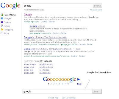Google 2nd Search Box on IE