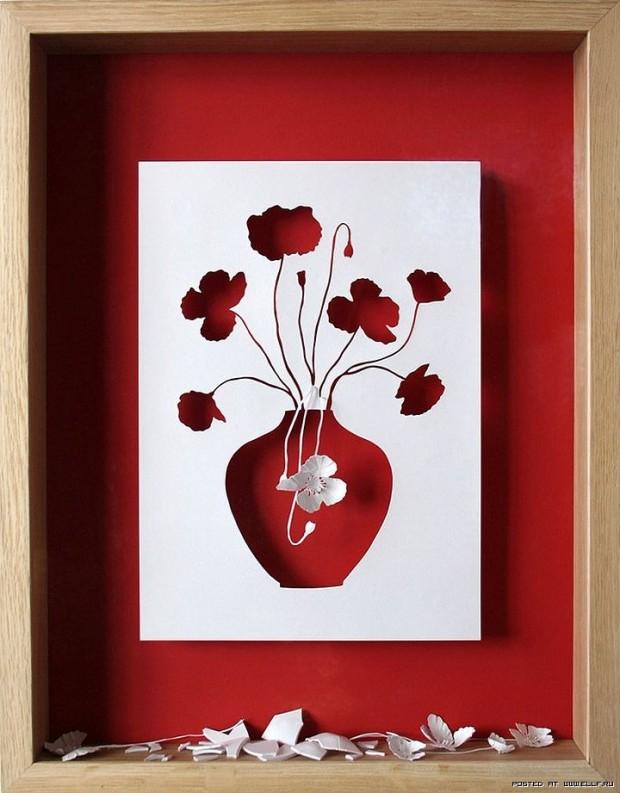 Цветы из бумаги для картины своими руками из