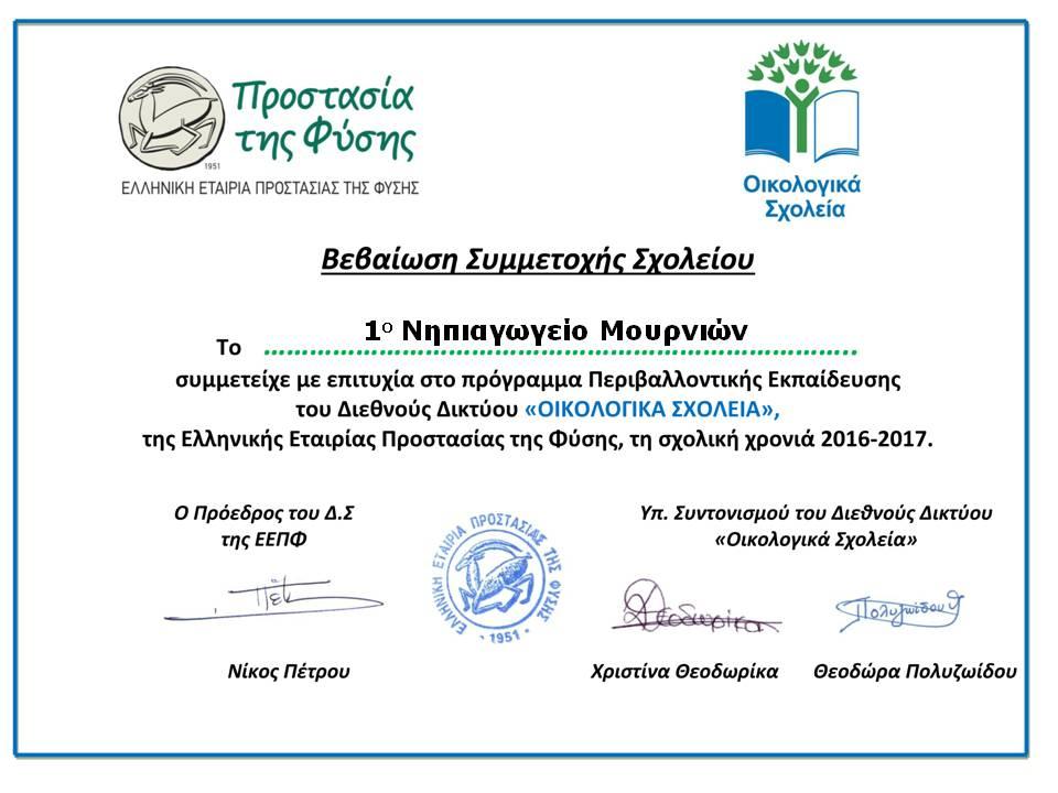 eco schools award 2016-17