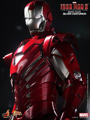 "Hot Toys 1/6 Scale Iron Man 3 12"" Iron Man Mark XXXIII Silver Centurion Armor Figure"