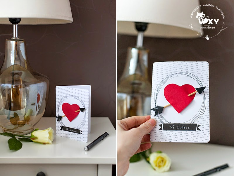 felicitare Dragobete, felicitare handmade, template gratuit felicitare, inima, vixy.ro, felicitare mesaj te iubesc, te iubesc