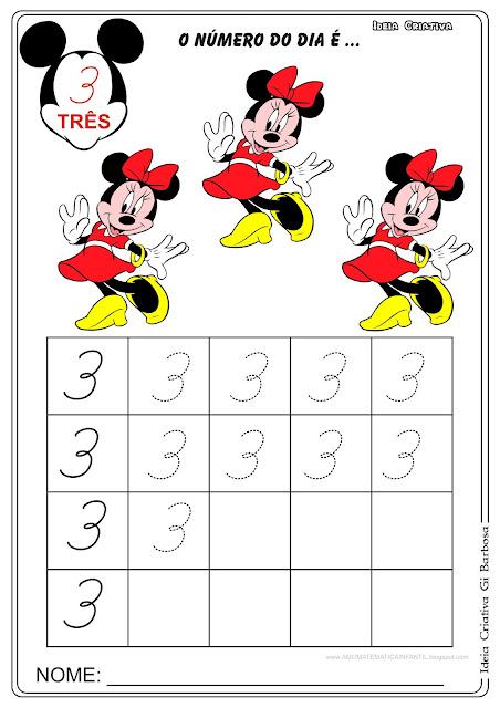 Atividade Numeral 3 Minnie com Pontilhado