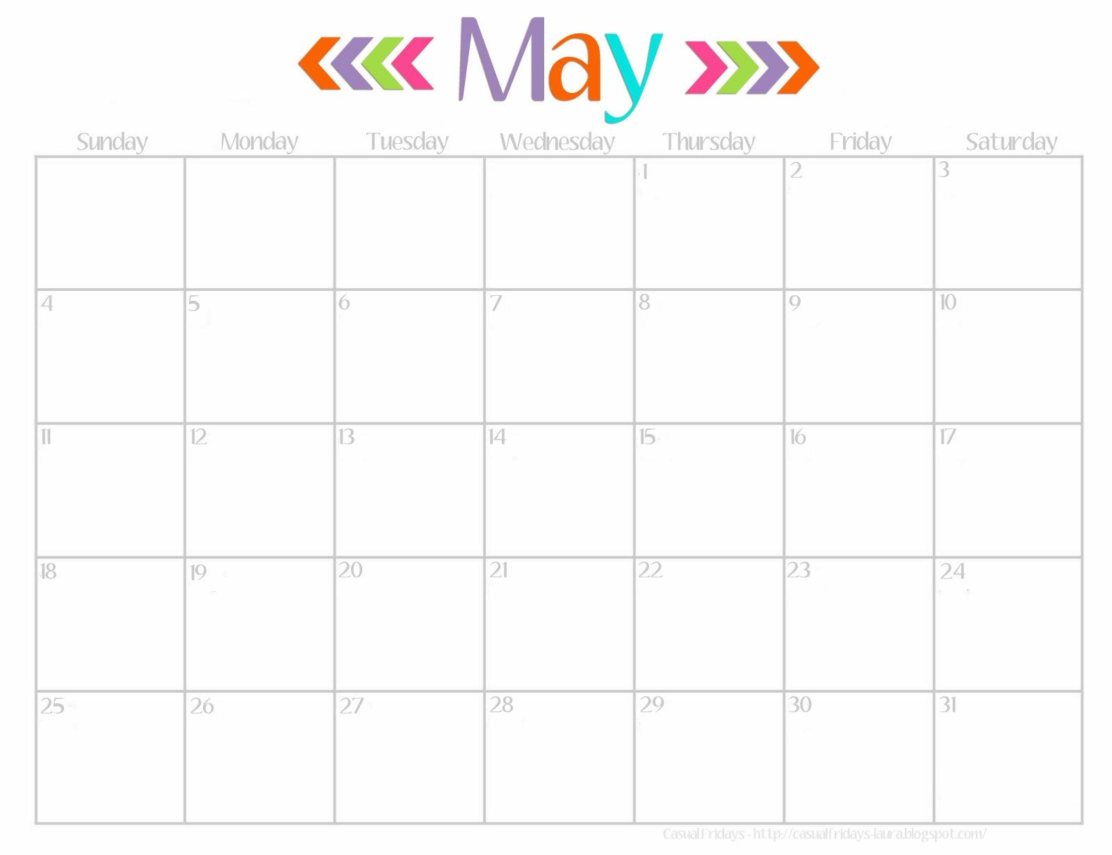 May Calendar Cute : Casual fridays free printable calendar