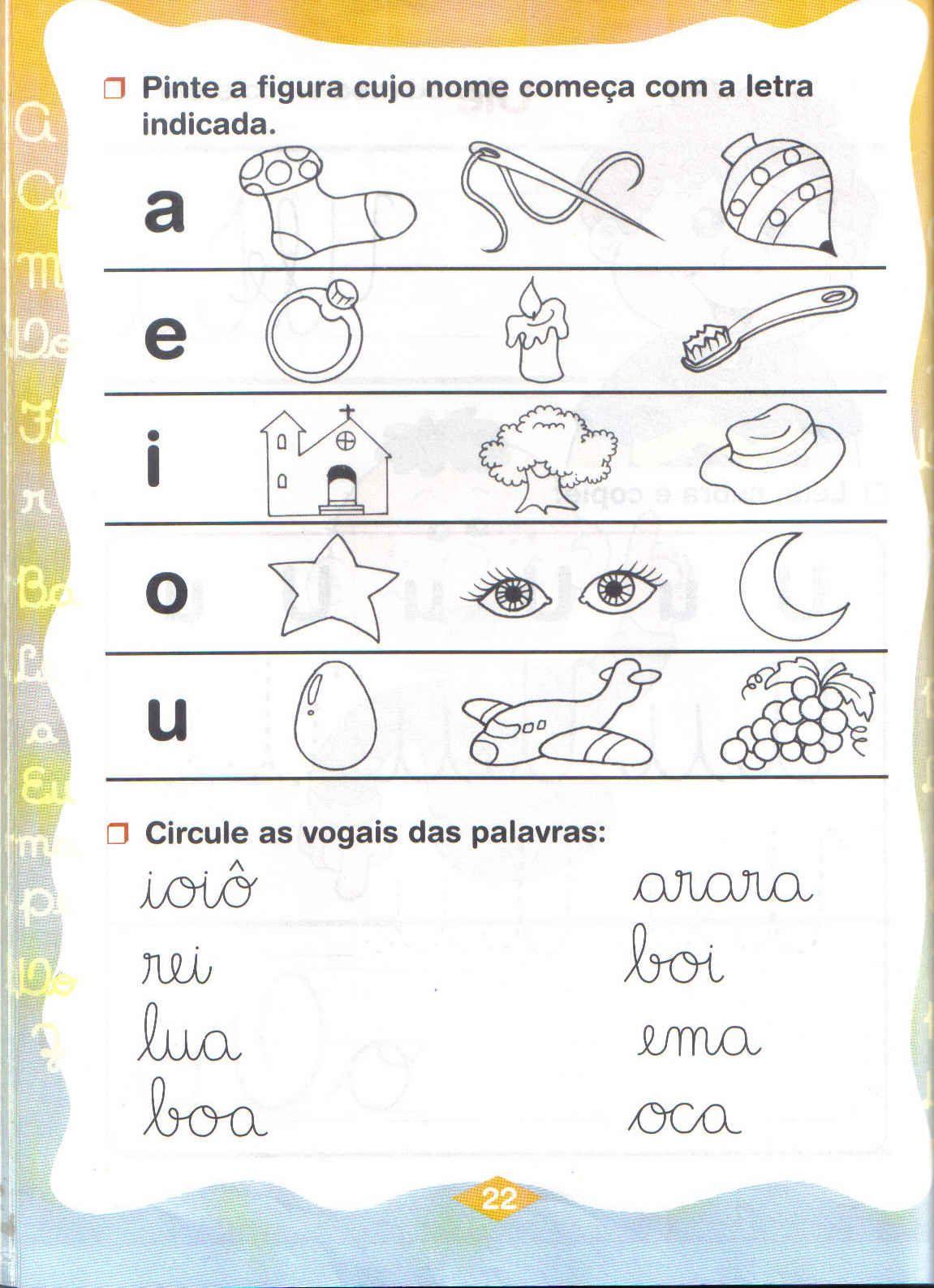 JARDIM COLORIDO DA TIA SUH Atividades com as vogais para Educação