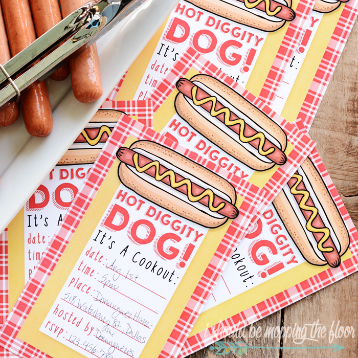 Hot Diggity Dog! Free Cookout Printables | Invitations and Menu Cards