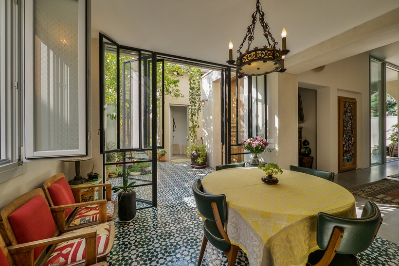 Dining room in the Townhouse decorated in the style of old Neve Tzedek, Israel