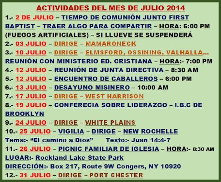 ACTIVIDADES MES JULIO 2014