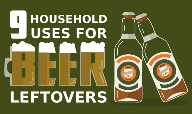 9 Household Uses for Beer Leftovers #infographic ~ Visualistan