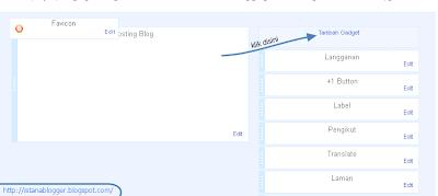 tampilan menu tata letak - cara menambahkan widget