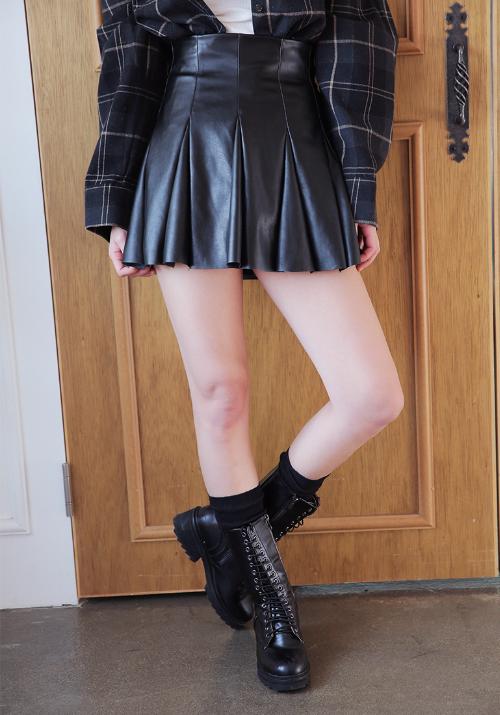 Faux Leather Godet Skirt