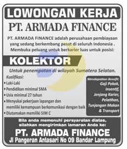 Info Lowongan Kerja Lampung (PT. ARMADA FINANCE), Peluang Kerja Lampung Oktober 2015