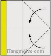 Bước 3: Gấp chéo hai góc tờ giấy vào trong.