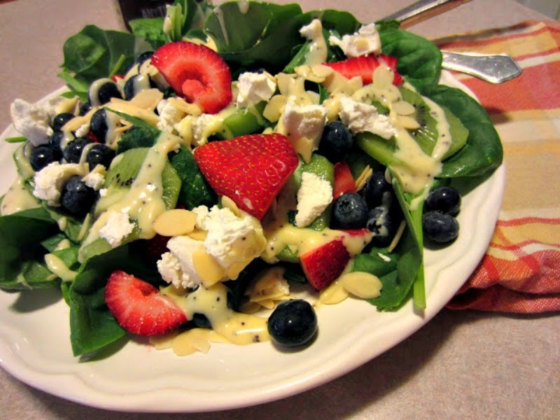 Renee's Kitchen Adventures:  Fruity Summer Spinach Salad with Goat Cheese.  (strawberries, blueberries and kiwi)