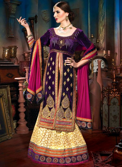 Beautiful Purple Velvet Lehnega And Long Choli