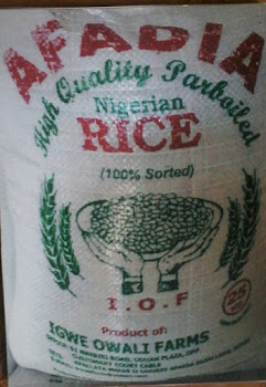Afadia Rice. Product Of Igwe Owali Farms