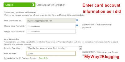 MasterCard Account Information for Payoneer