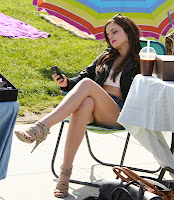 Emma Watson leggy shots on set