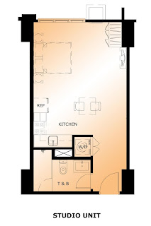 The Maridien at High Street South Block Studio Unit Plan