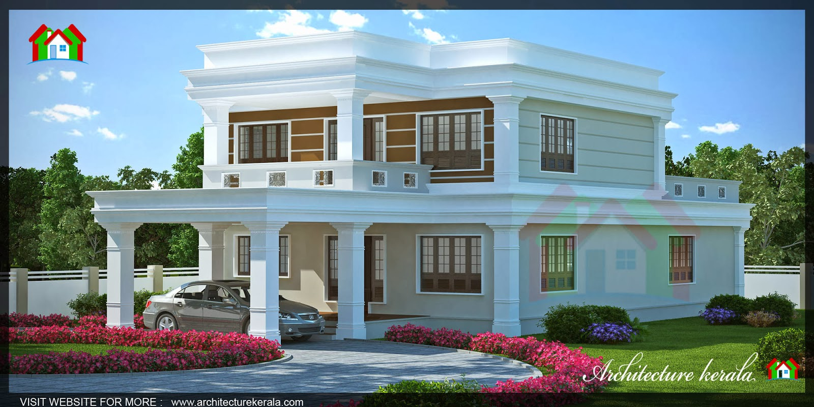 Modern style house elevation in 3000 square feet for 3000 sq ft house plans kerala