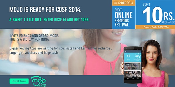 Mojo GOSF Offer: Install Mojo App and get free recharge of Rs 10 + Rs 50 more for Invite