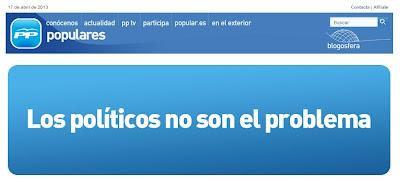 """""""Los políticos no son el problema"""", en la web del PP"""