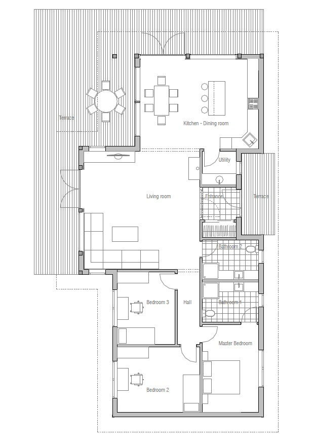 Contemporary house plans affordable small house plan ch128 for Small modern house floor plans