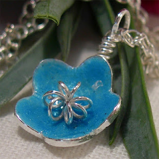 Turquoise Blue Flower Necklace, Enamel Silver Flower Pendant Necklace