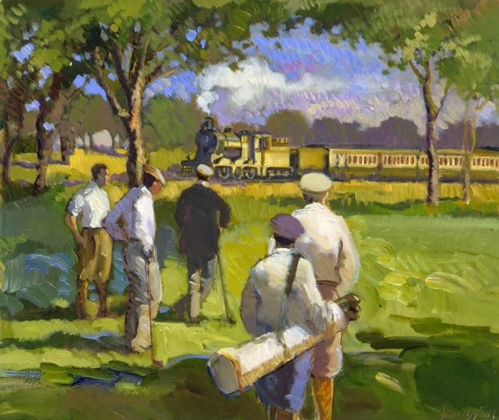 Francis Livingston retro illustration of men playing golf.