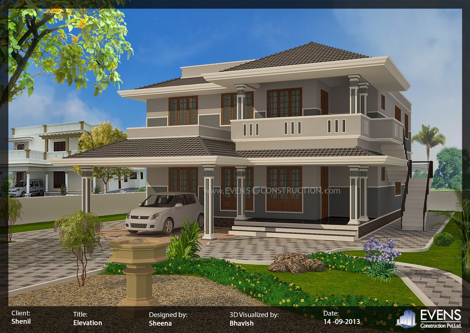 Boundary wall designs techethe 3030 square feet 281 square meter 337 square yards 4 bedroom sloping