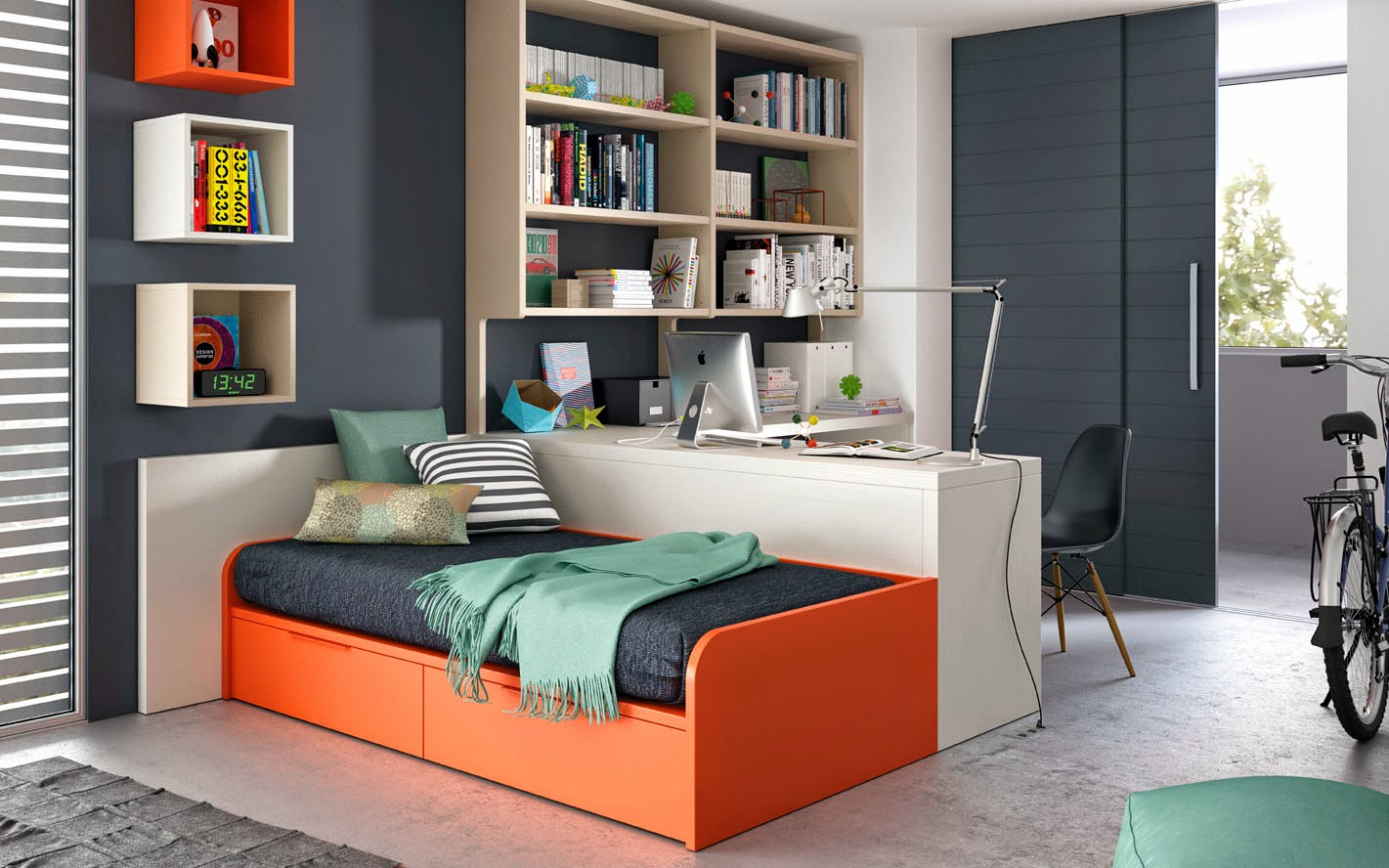 dormitorio juvenil naranja y blanco con cama nido