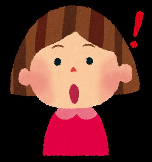 女の子のイラスト「驚いた顔 ...