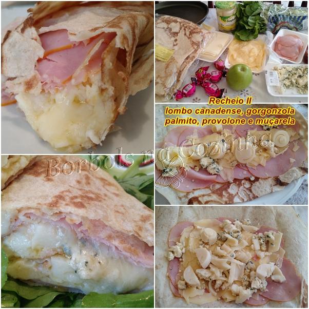 wrap recheio II lombo canadense, provolone gorgonzola e