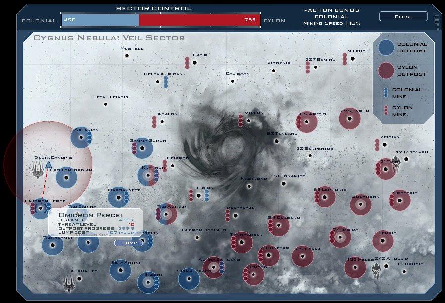 Battlestar Galactica Online - Systems Map